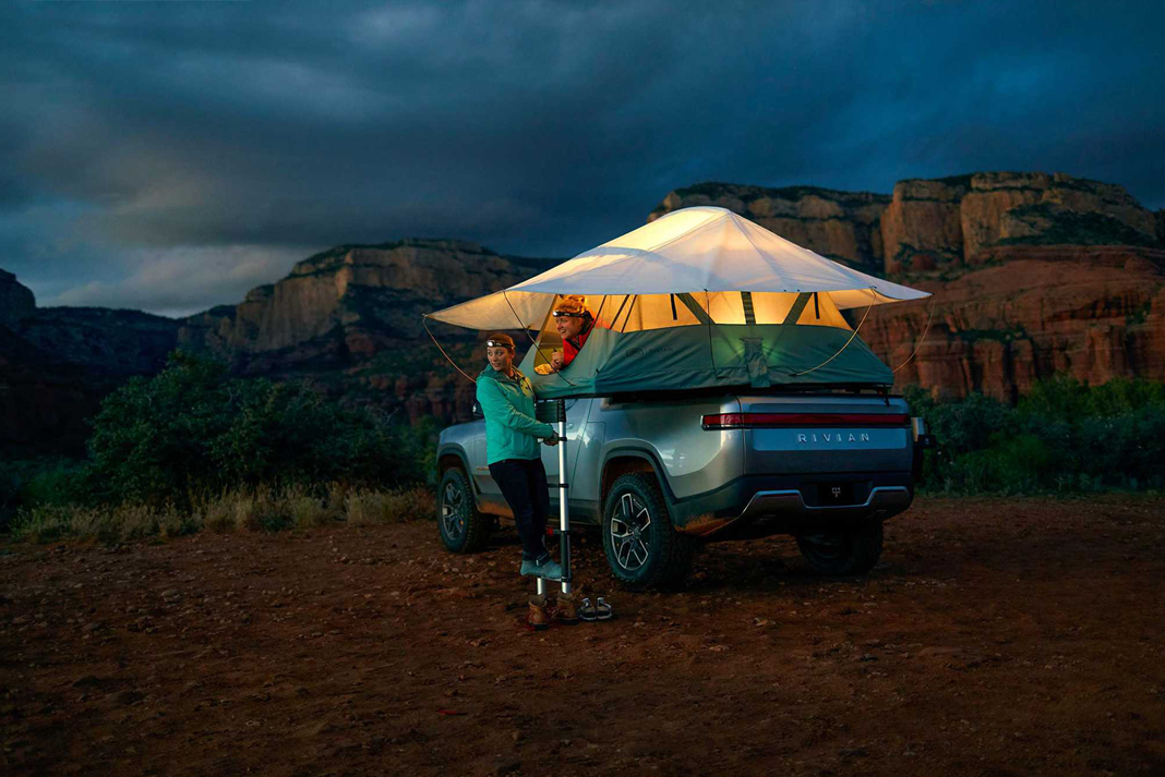 rivian r1t electric truck camping