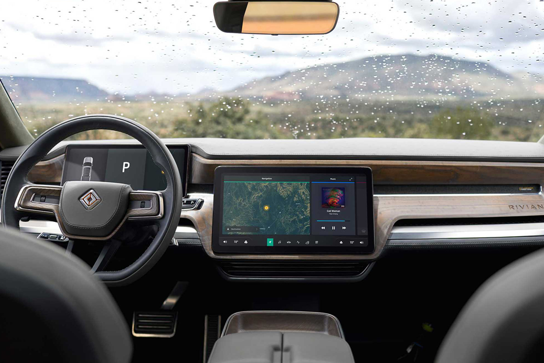rivian r1t electric truck dashboard