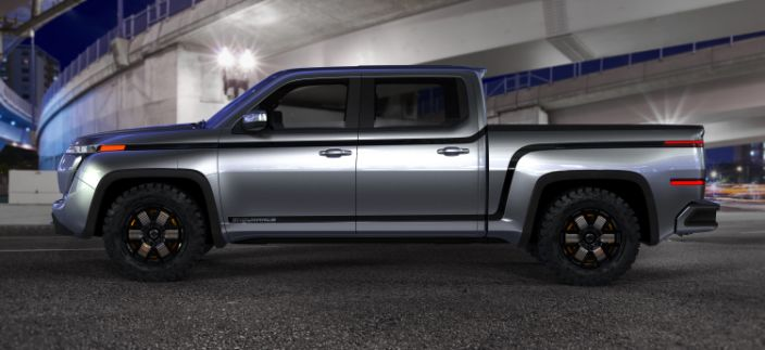 Endurance electric pickup truck side